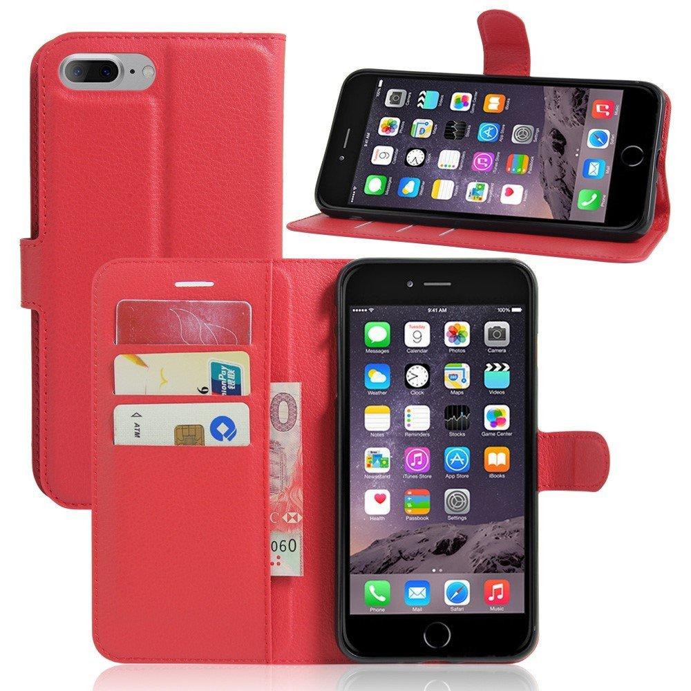Image of   Apple iPhone 7/8 Plus PU læder FlipCover m. Pung - Rød