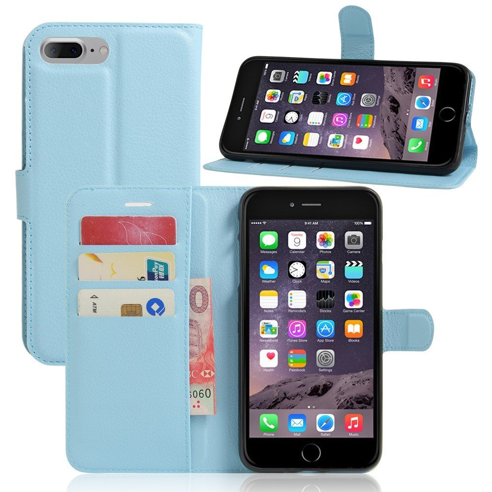 Image of   Apple iPhone 7/8 Plus PU læder FlipCover m. Pung - Blå