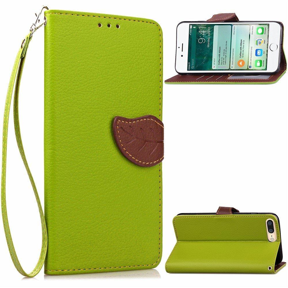 Image of   Apple iPhone 7/8 Plus PU læder FlipCover m. Bladlukning - Grøn/brun