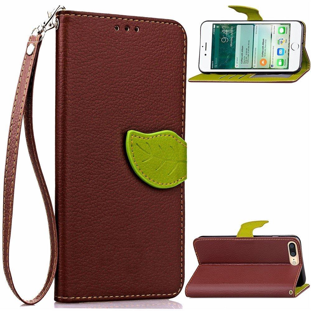 Image of   Apple iPhone 7/8 Plus PU læder FlipCover m. Bladlukning - Brun/grøn