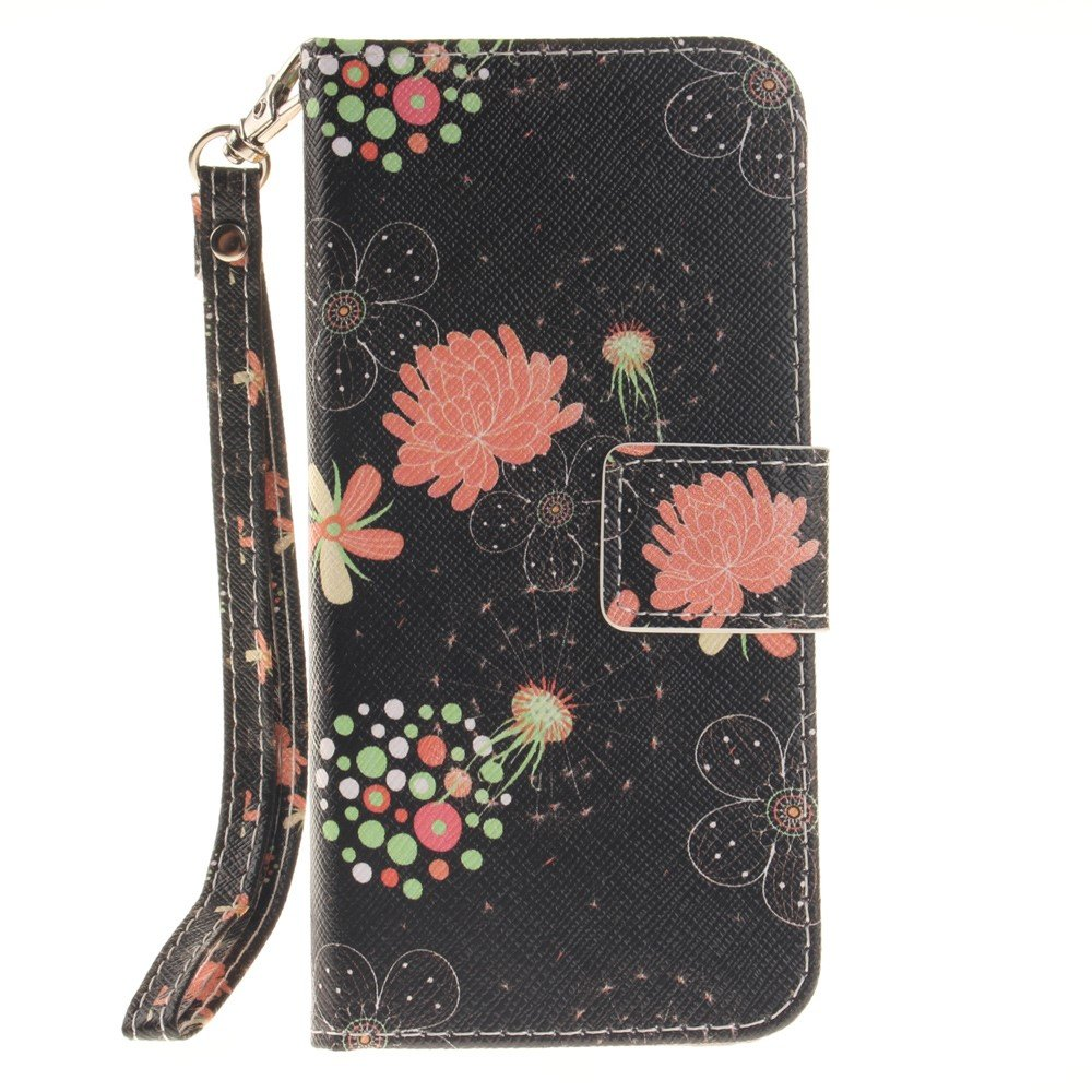 Image of   Apple iPhone 7/8 PU læder FlipCover m. Stand - Sort med blomster