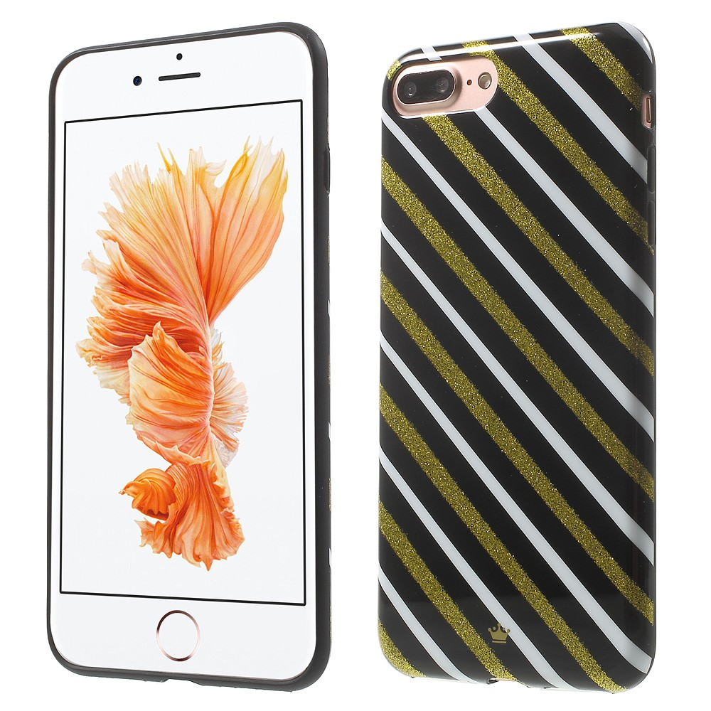 Billede af Apple iPhone 7/8 Plus InCover TPU Cover - Gold and White Stripes