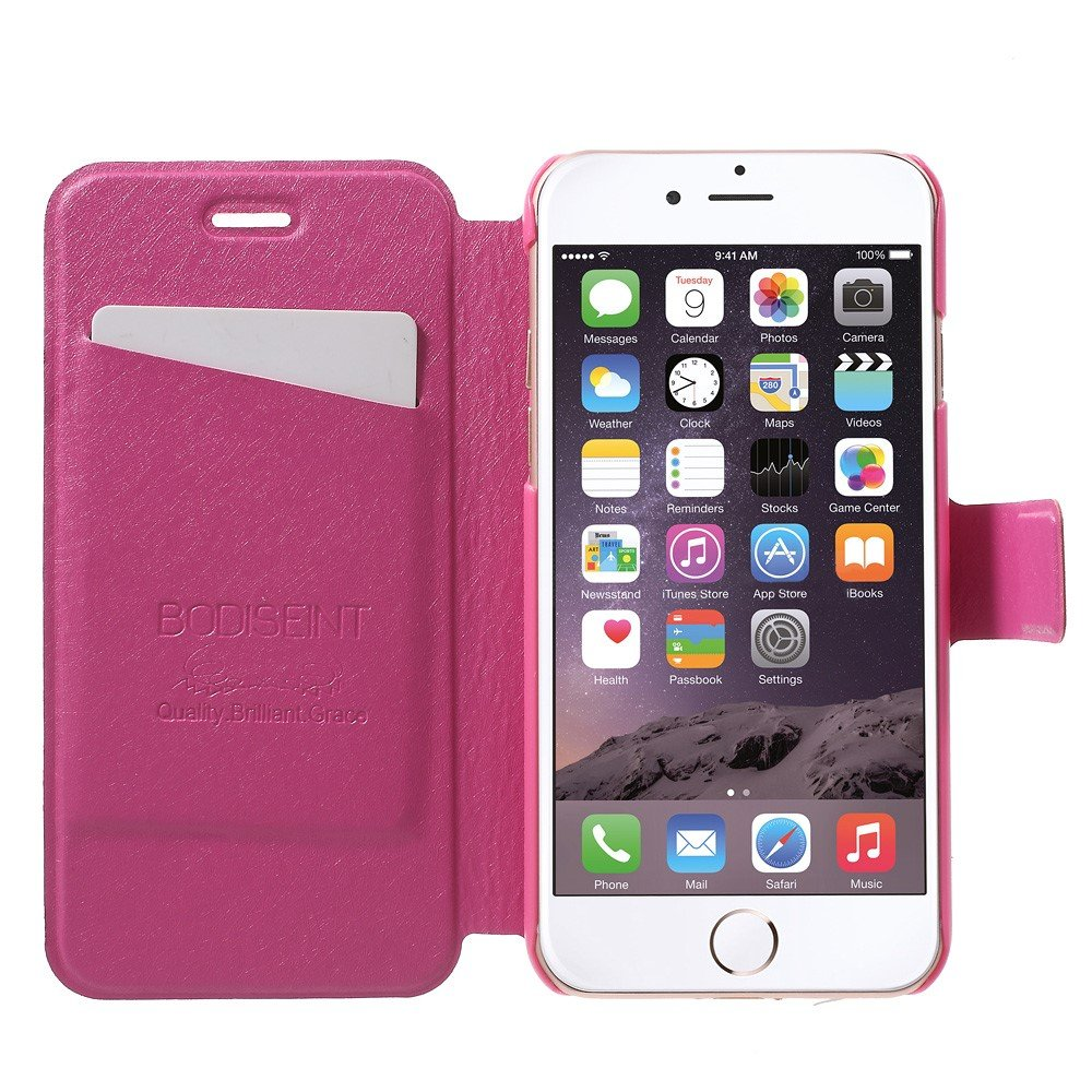 Image of   Apple iPhone 7 Stof FlipCover m. Kortholder - Pink