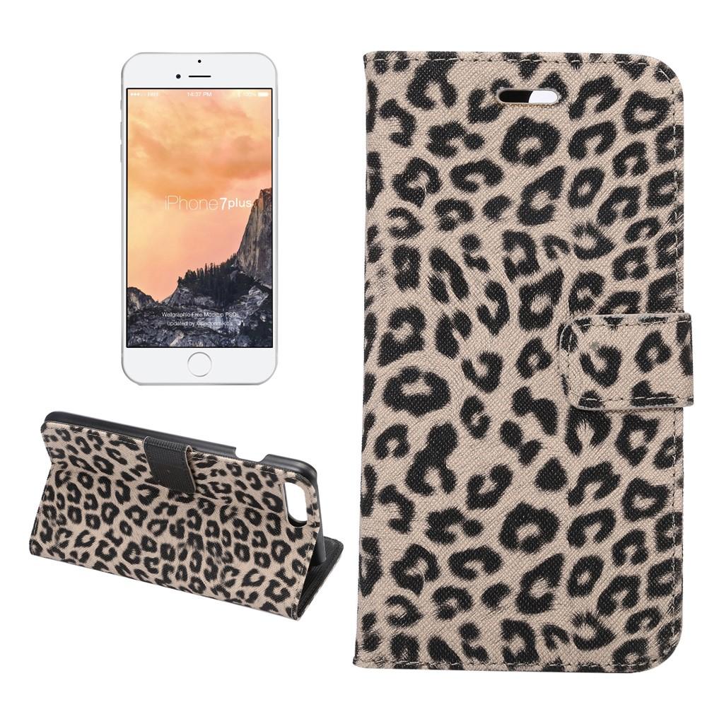 Image of   Apple iPhone 7 Plus PU læder Flip Cover m. Kortholder - Grå leopard