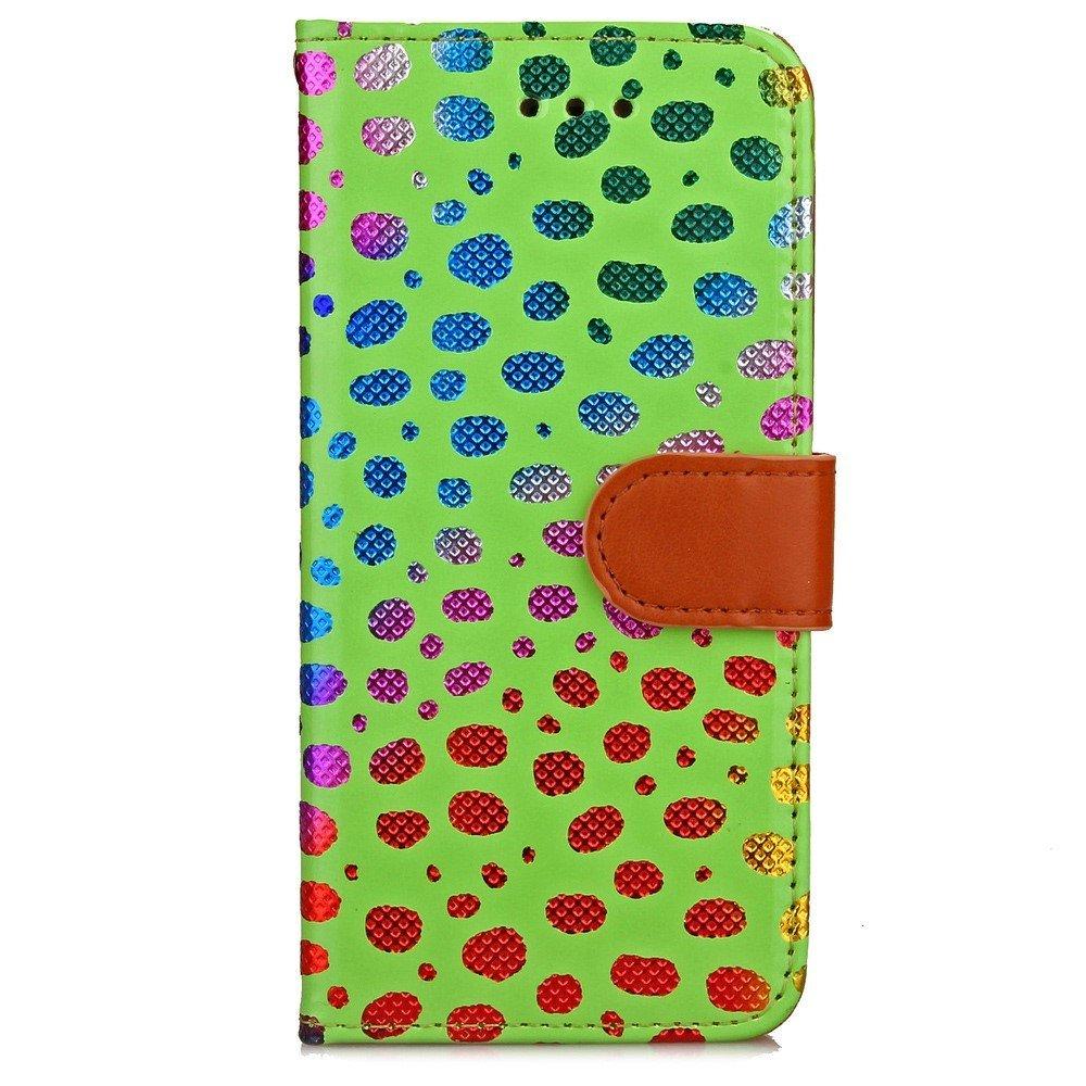 Image of   Apple iPhone 7/8 PU læder FlipCover m. Polka Dots - Grøn