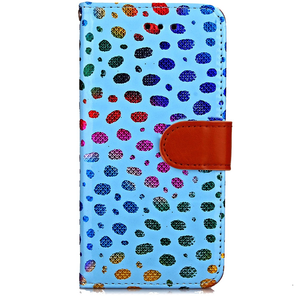 Image of   Apple iPhone 7/8 PU læder FlipCover m. Polka Dots - Blå