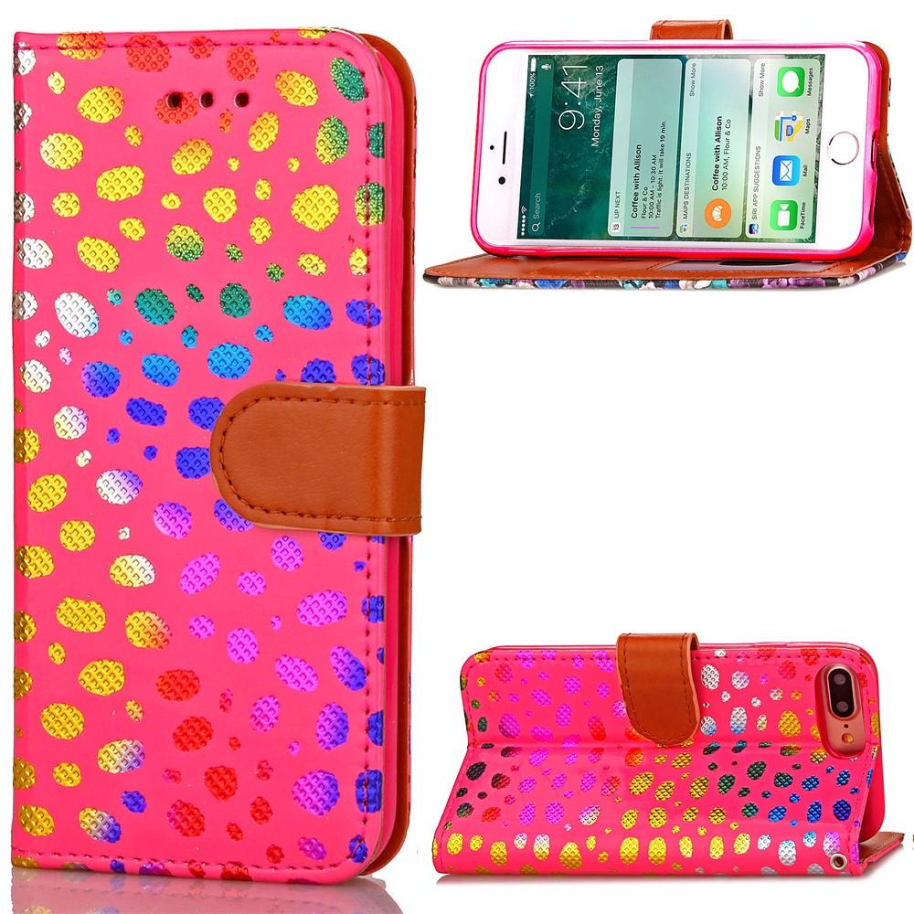 Image of   Apple iPhone 7/8 Plus PU læder FlipCover m. Polka Dots - Rosa