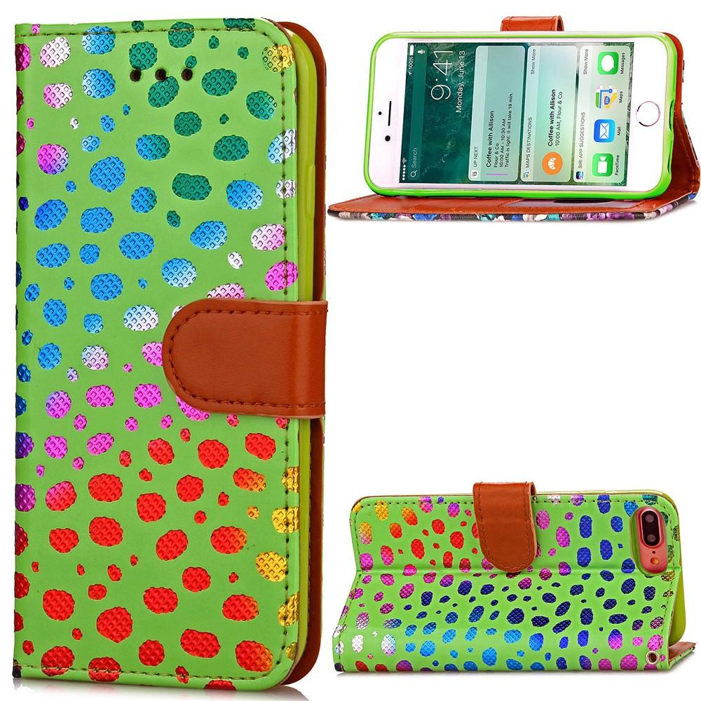 Image of   Apple iPhone 7/8 Plus PU læder FlipCover m. Polka Dots - Grøn