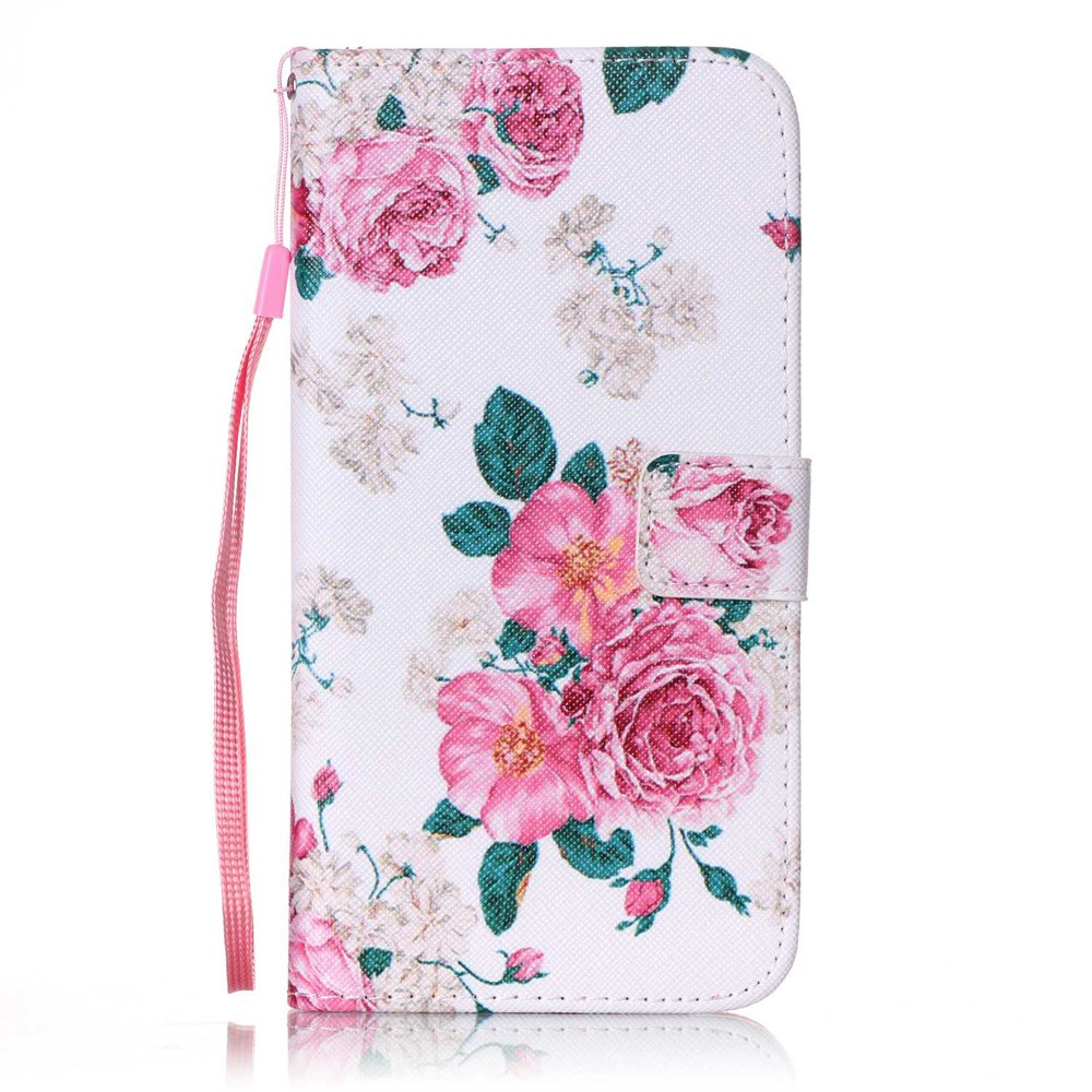 Image of   Apple iPhone 7/8 Plus PU læder FlipCover m. Stand - Lyserøde blomster