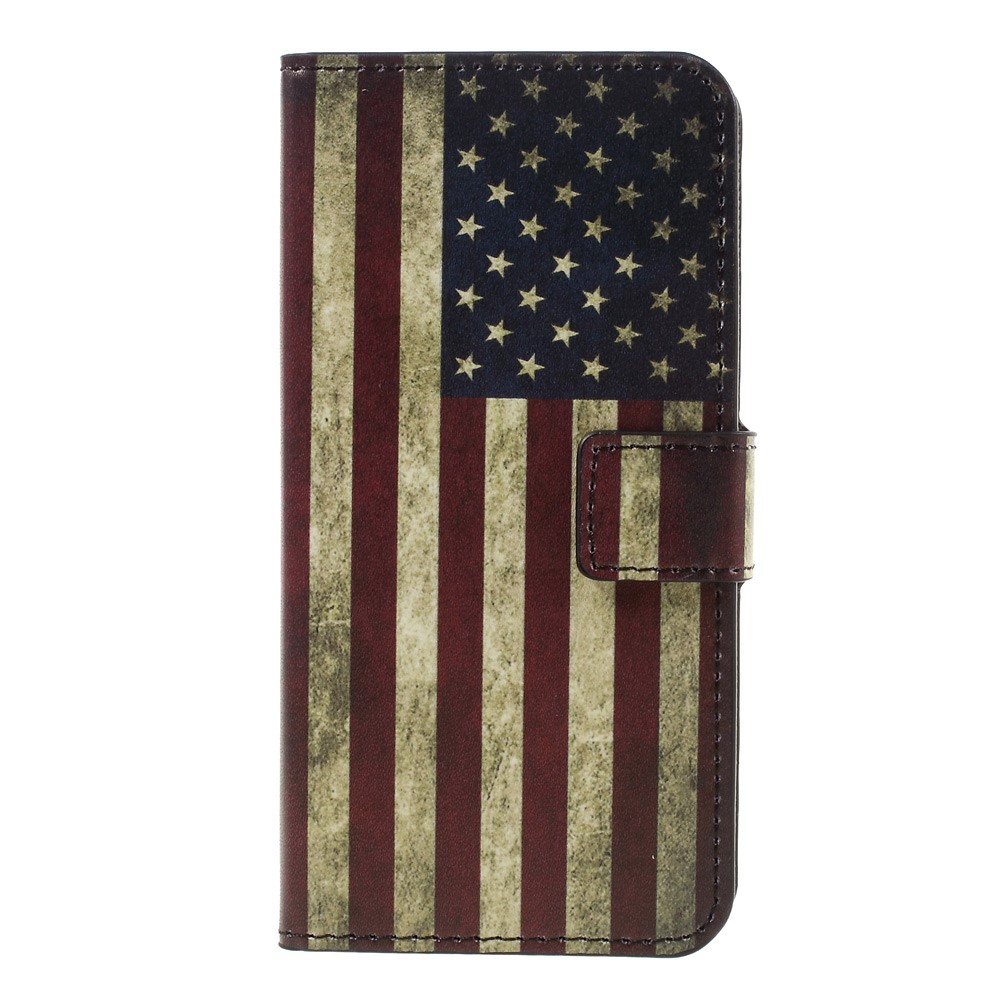 Image of   Apple iPhone 7 PU læder FlipCover m. Stand og Kortholder - American Flag