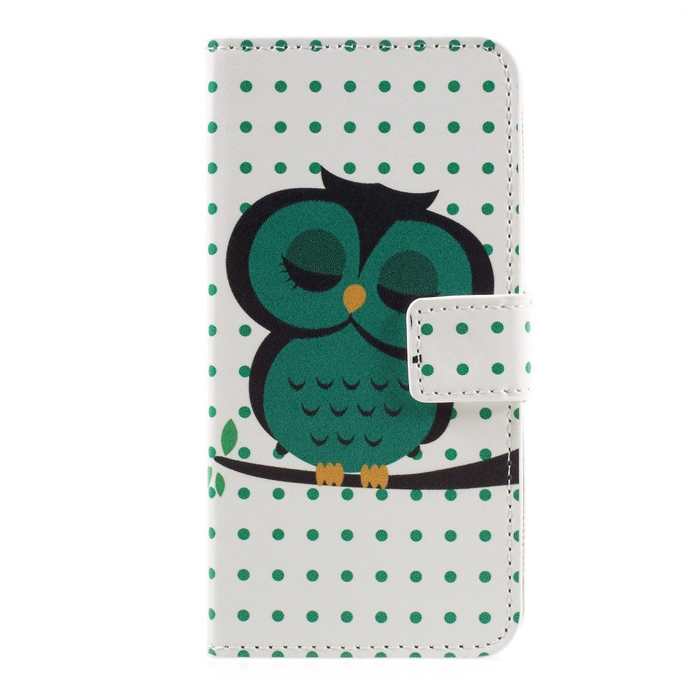 Image of   Apple iPhone 7 PU læder FlipCover m. Stand og Kortholder - Sleeping Owl