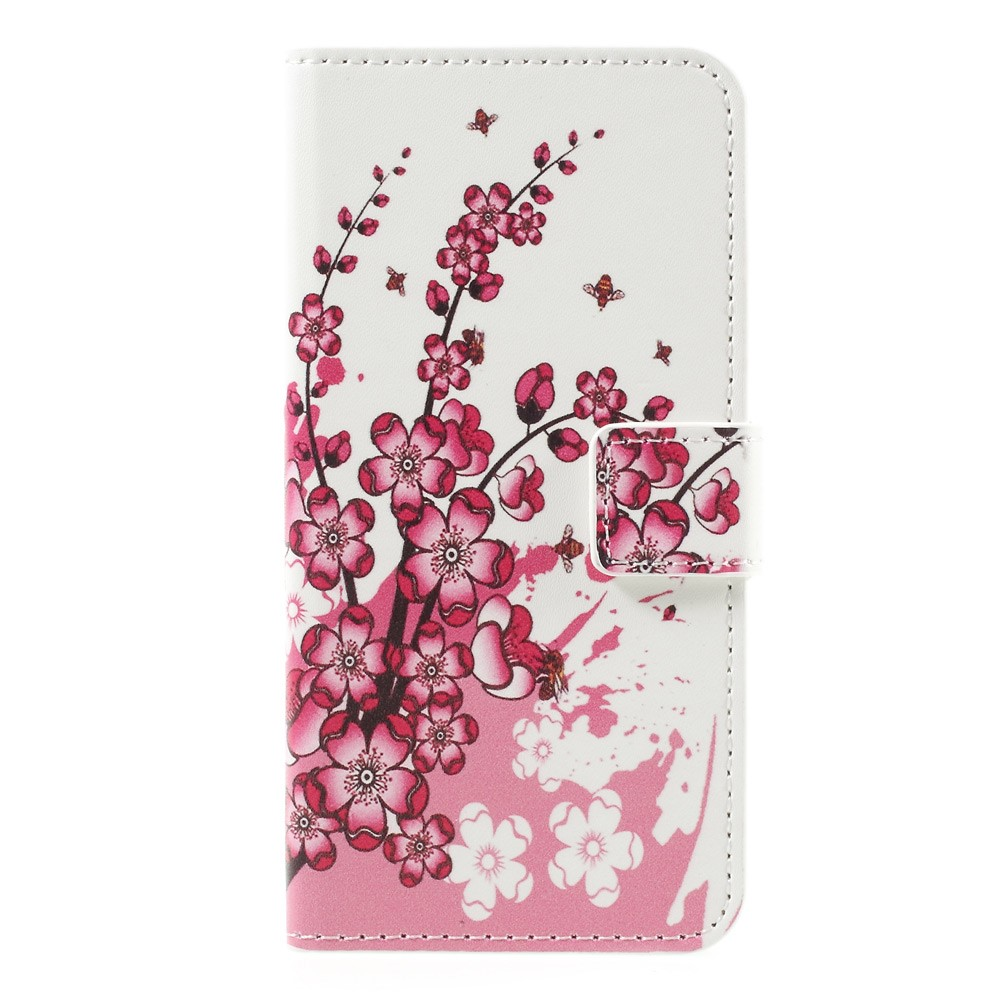 Image of   Apple iPhone 7 PU læder FlipCover m. Stand og Kortholder - Plum Blossom