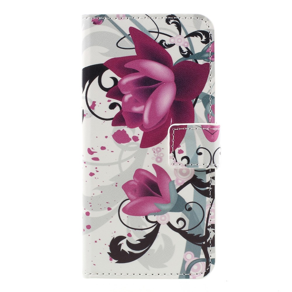 Image of   Apple iPhone 7 PU læder FlipCover m. Stand og Kortholder - Purple Flowers