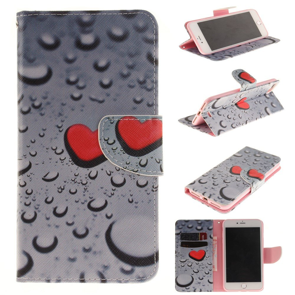 Image of   Apple iPhone 7/8 Plus PU læder FlipCover m. Kortholder - Red Hearts