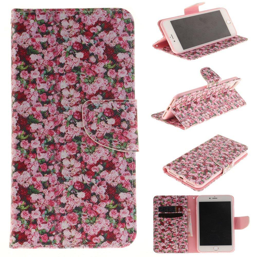Image of   Apple iPhone 7/8 Plus PU læder FlipCover m. Kortholder - Rose Flowers