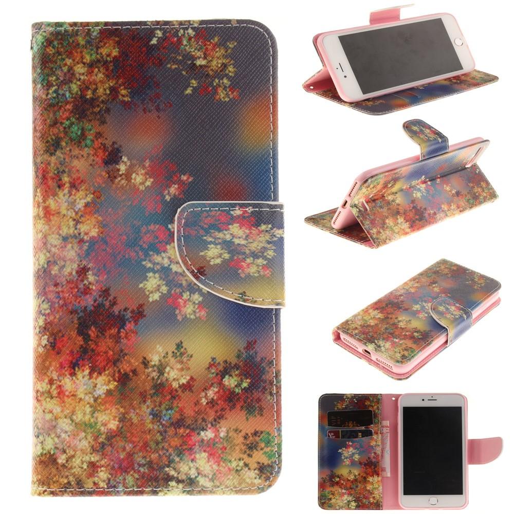 Image of   Apple iPhone 7/8 Plus PU læder FlipCover m. Kortholder - Vivid Flowers