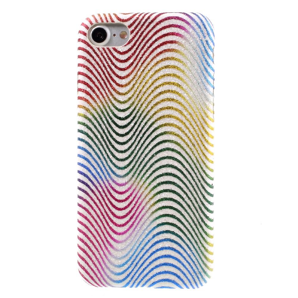 Image of   Apple iPhone 7/8 Læder beklædt Plastik Cover m. Bølger - Multi