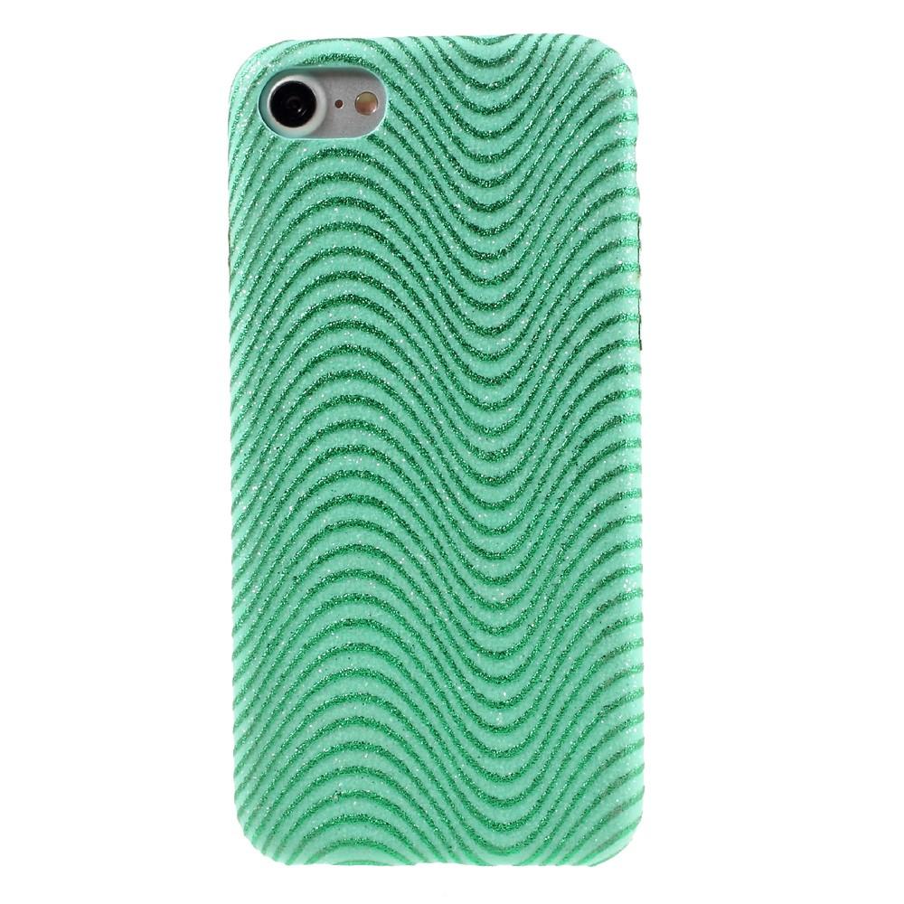 Image of   Apple iPhone 7/8 Læder beklædt Plastik Cover m. Bølger - Grøn