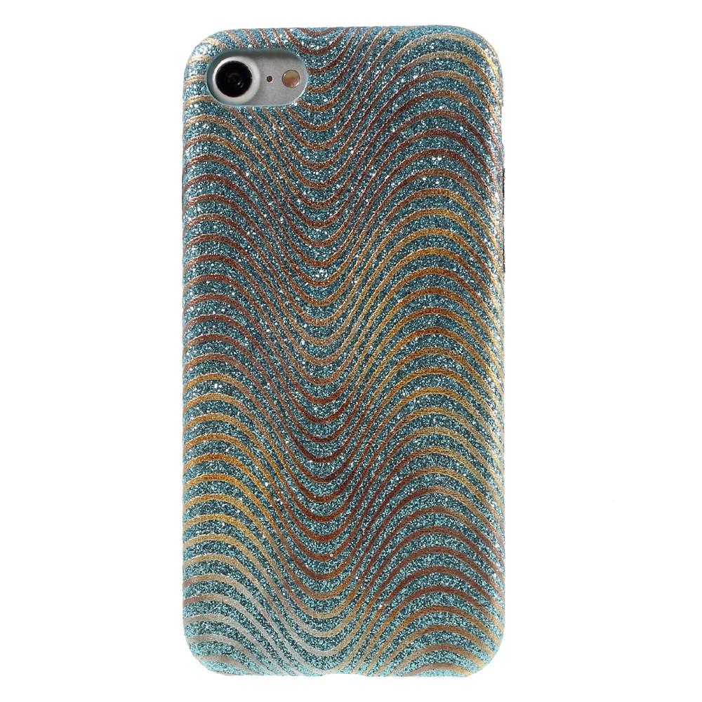 Image of   Apple iPhone 7/8 Læder beklædt Plastik Cover m. Bølger - Baby blå