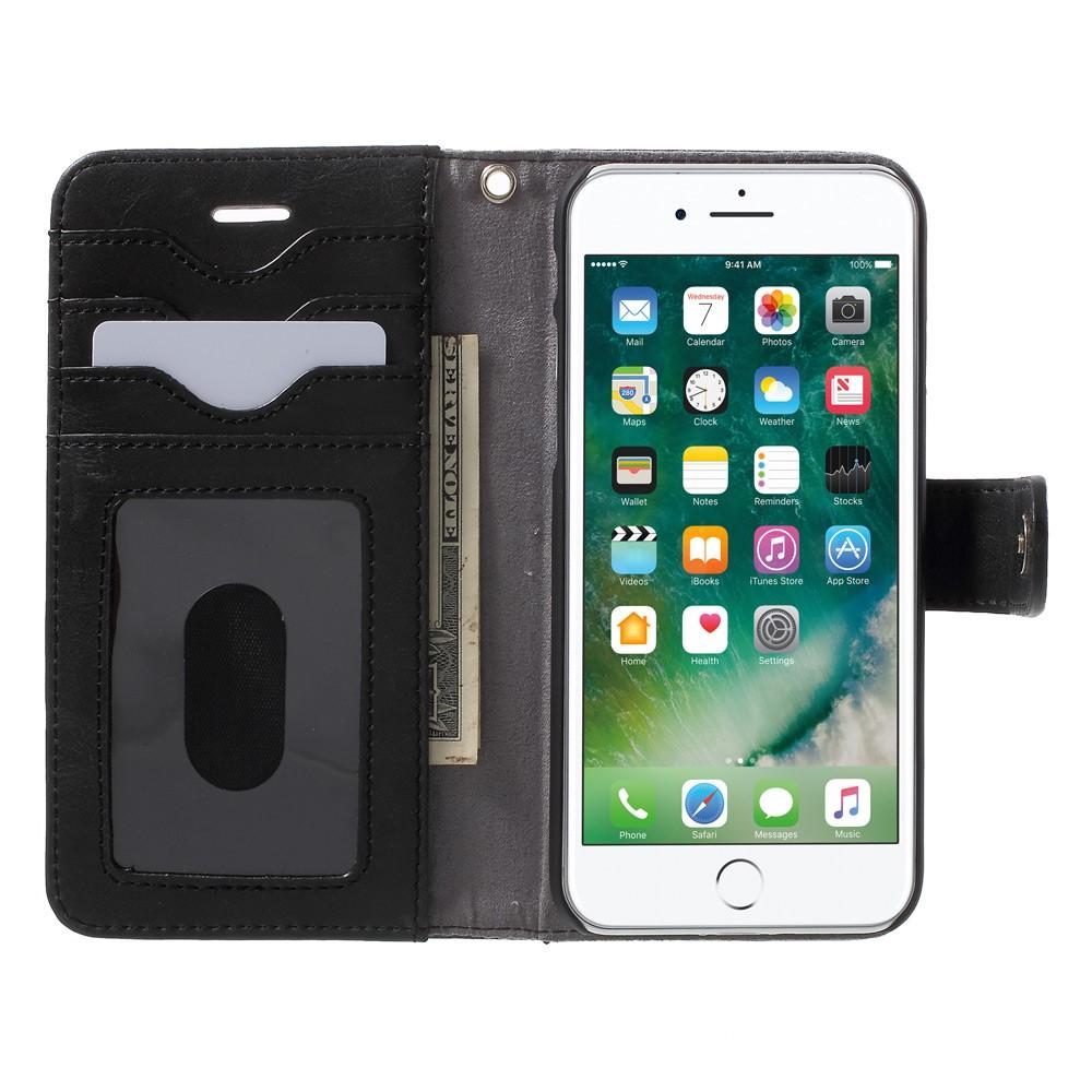 Image of   Apple iPhone 7 2 i 1 Deluxe Flip Cover Med Pung - Grå/Blå