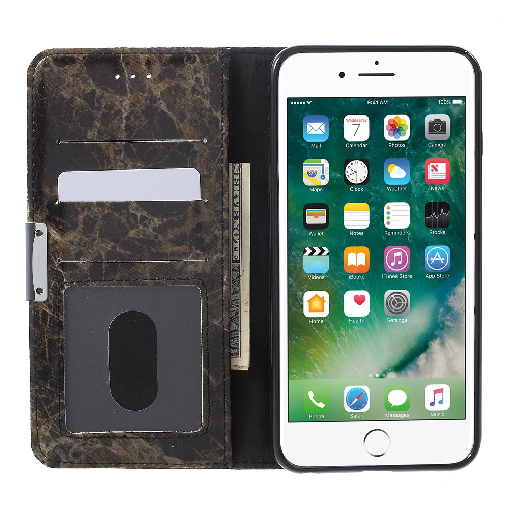 Image of   Apple iPhone 6/6s PU Læder FlipCover m. Stand - Sort Marmor