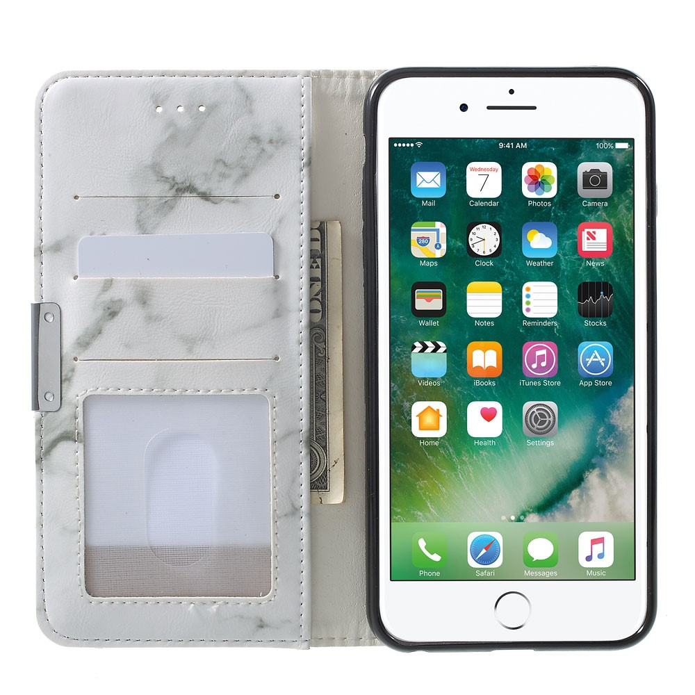 Image of   Apple iPhone 6/6s PU Læder FlipCover m. Stand - Grå Marmor