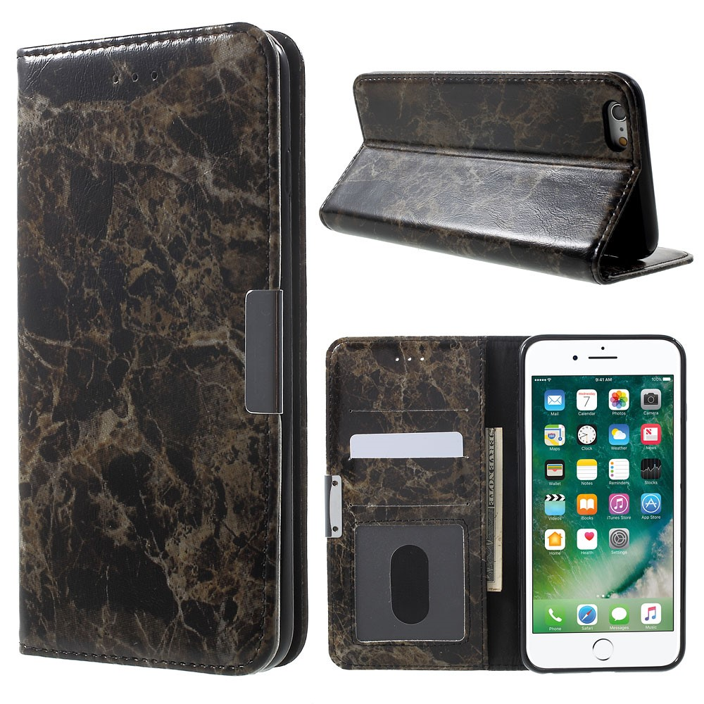 Image of Apple iPhone 6/6s Plus PU Læder FlipCover m. Stand - Sort Marmor
