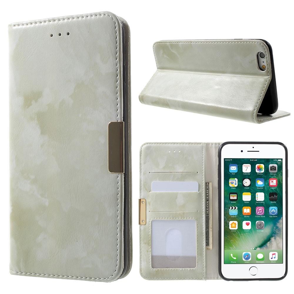 Image of Apple iPhone 6/6s Plus PU Læder FlipCover m. Stand - Grøn Marmor