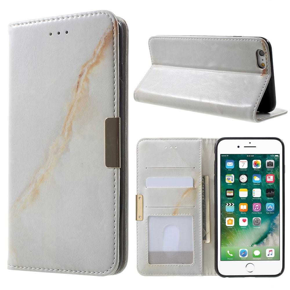 Image of Apple iPhone 6/6s Plus PU Læder FlipCover m. Stand - Brun Marmor