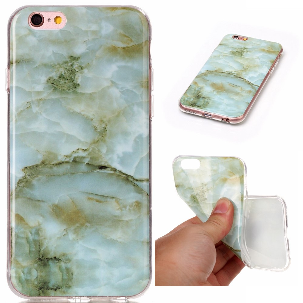 Image of   Apple iPhone 6/6s InCover Premium Marmor TPU Cover - Grøn
