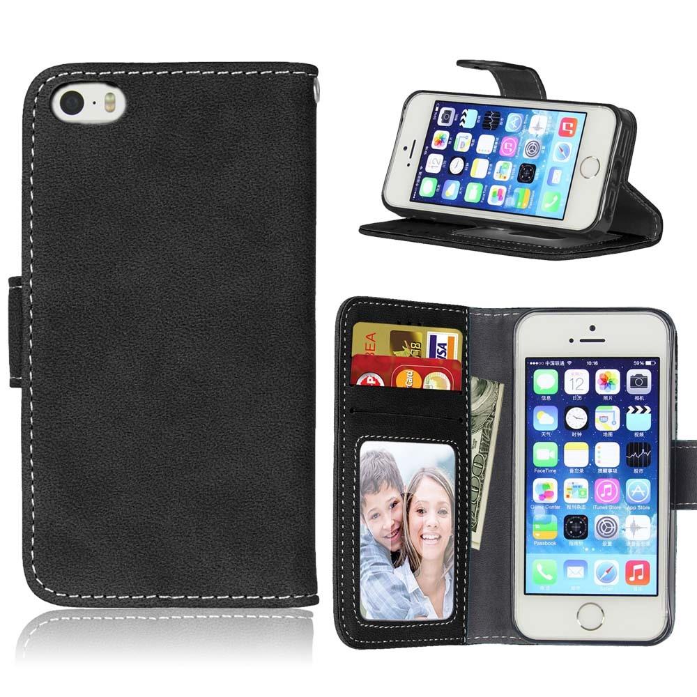 Image of   Apple iPhone 5/5s/SE PU læder Flipcover m. Fotolomme - Sort