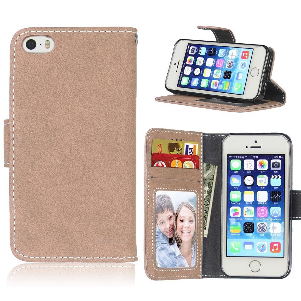 Image of   Apple iPhone 5/5s/SE PU læder Flipcover m. Fotolomme - Khaki