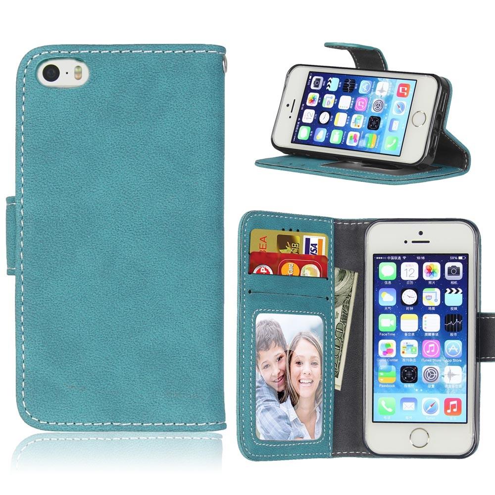 Image of   Apple iPhone 5/5s/SE PU læder Flipcover m. Fotolomme - Blå