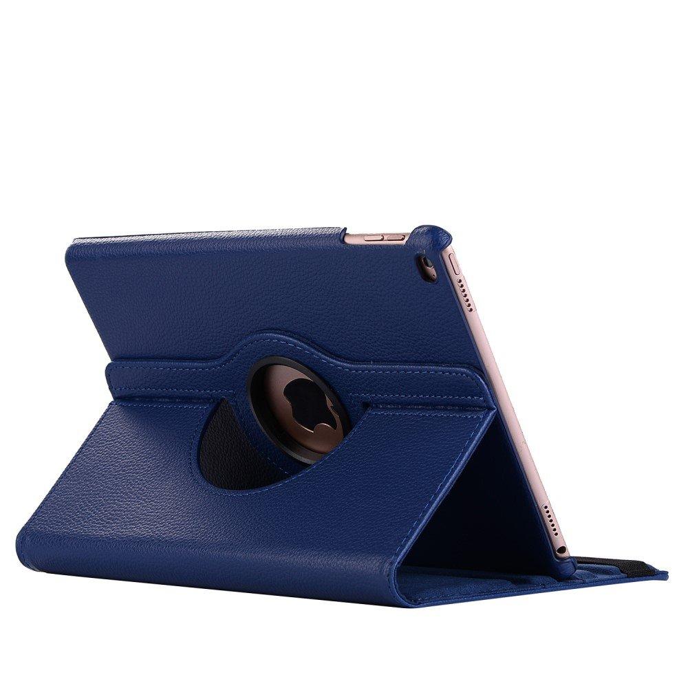 Apple iPad 9.7 2017/2018 PU Læder Rotating Cover m. Stand - Mørkeblå