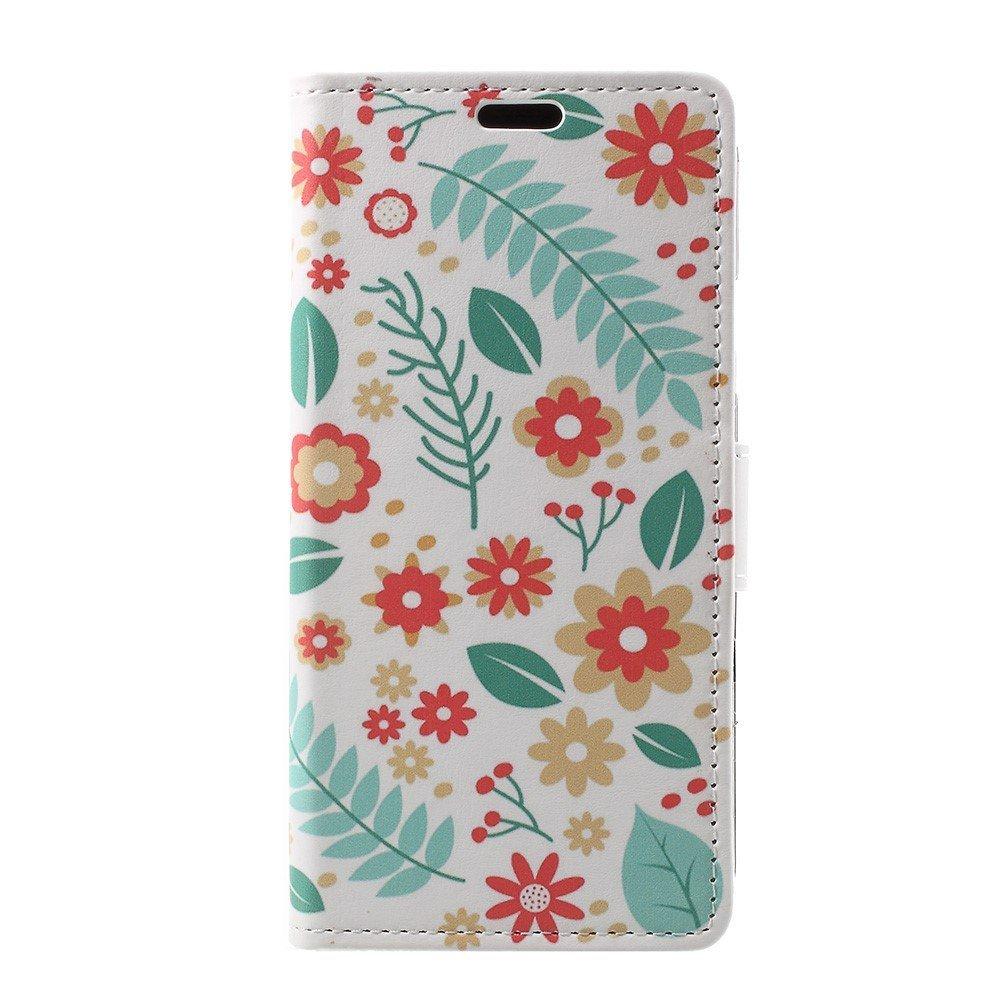 Image of   Apple iPhone X PU læder Flipcover m. Kortholder - Blomster og Blade
