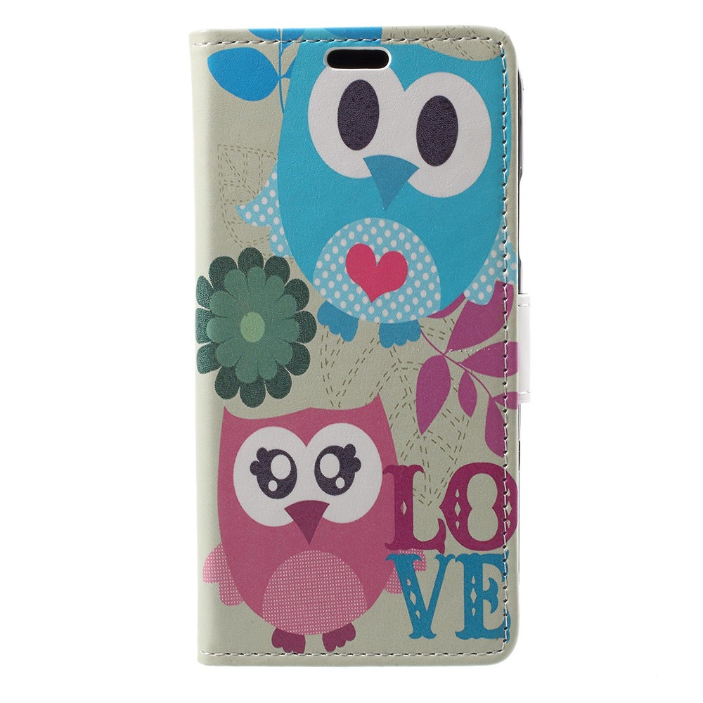 Image of   Apple iPhone X PU læder Flipcover m. Kortholder - Ugler og Love