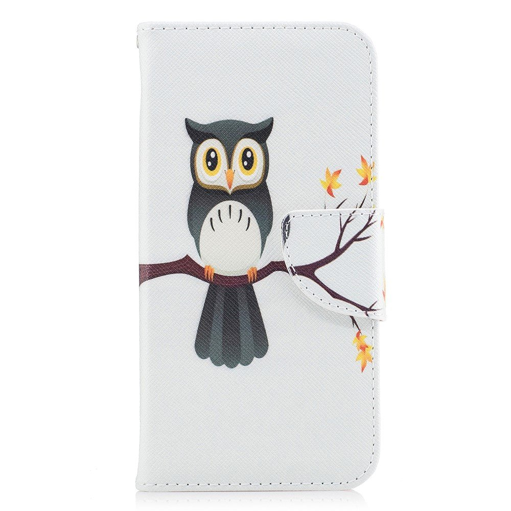 Image of   Apple iPhone X PU læder Flipcover m. Kortholder - Sød Ugle