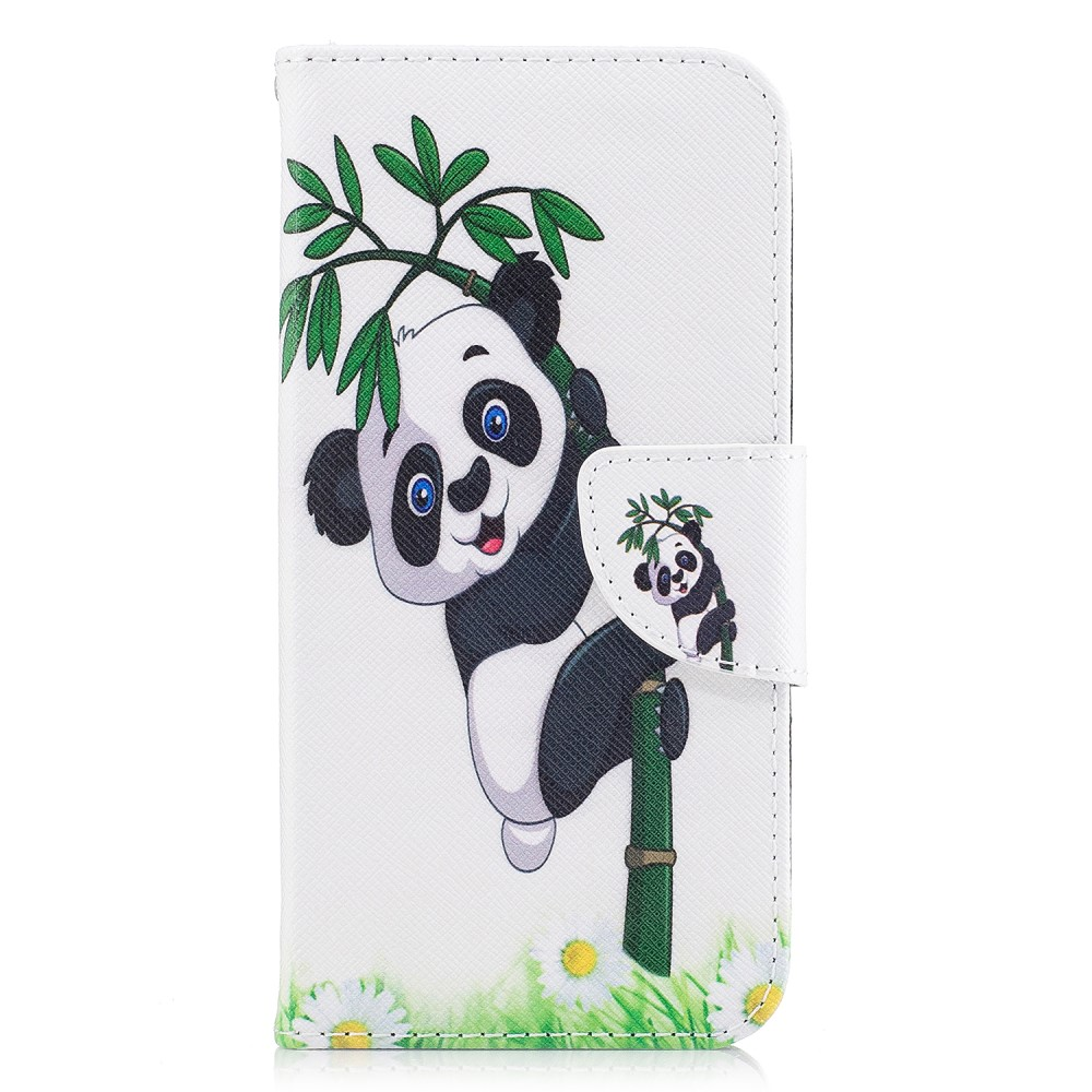 Image of   Apple iPhone X PU læder Flipcover m. Kortholder - Sød Panda