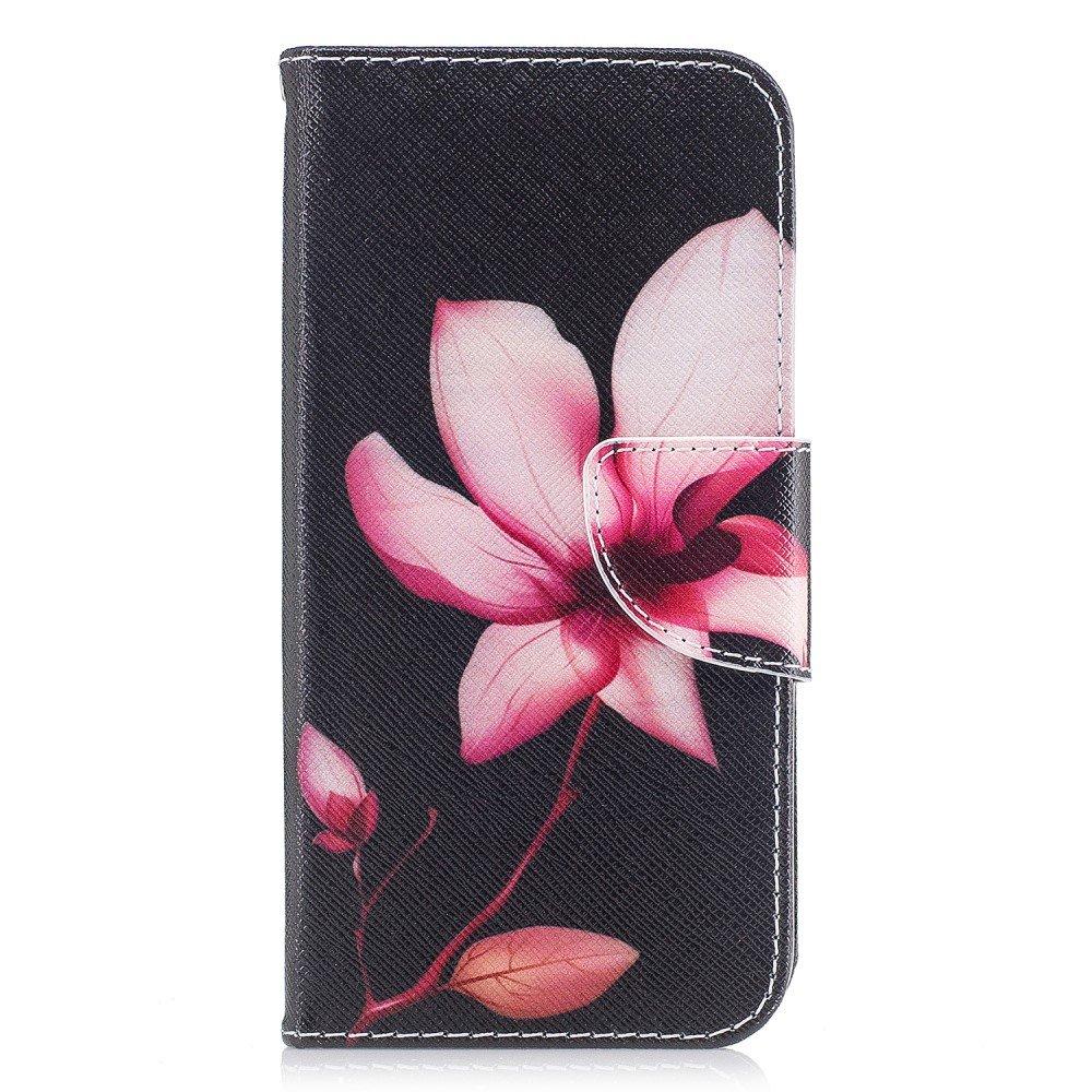 Image of   Apple iPhone X PU læder Flipcover m. Kortholder - Smuk Blomst