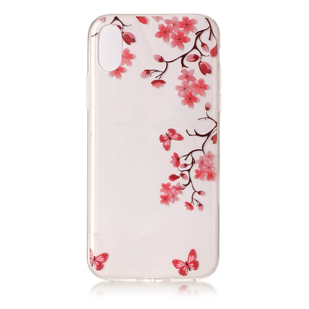 Image of   Apple iPhone X/XS TPU Cover - Røde Blomster