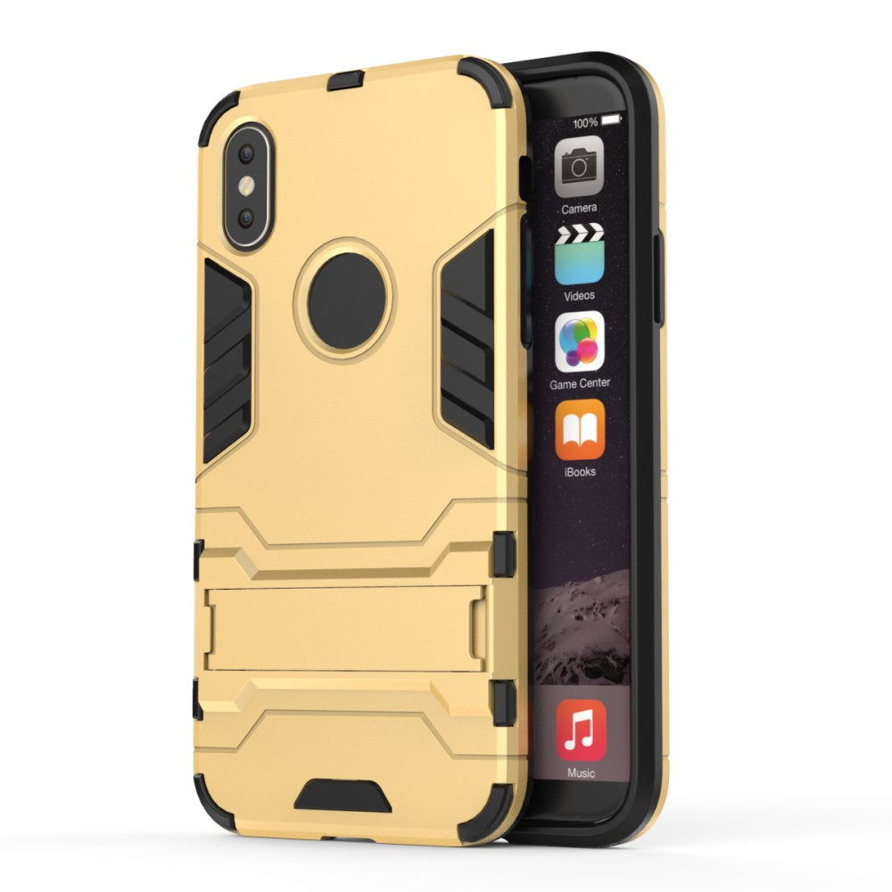 Image of   Apple iPhone X/XS TPU Hybrid Cover m. Stand - Guld