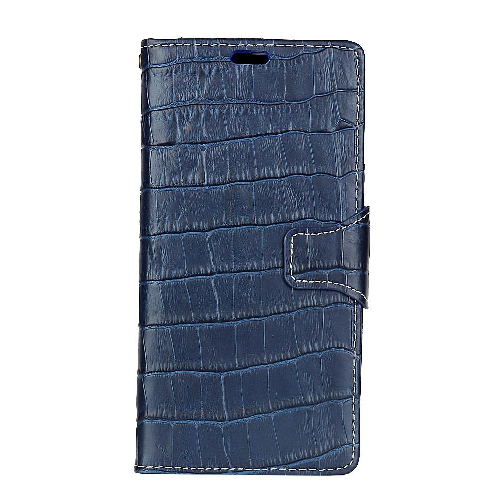 Image of   Apple iPhone X Premium Flipcover i Ægte Læder m. Krokodillelook - Blå