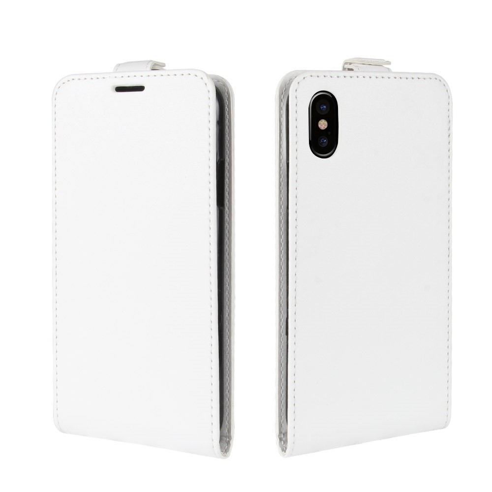 Image of   Apple iPhone X PU læder Vertikal Flipcover - Hvid