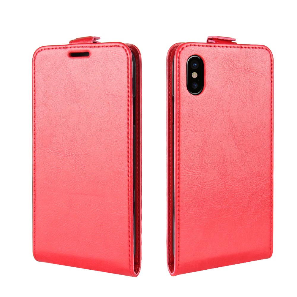 Image of   Apple iPhone X PU læder Vertikal Flipcover - Rød