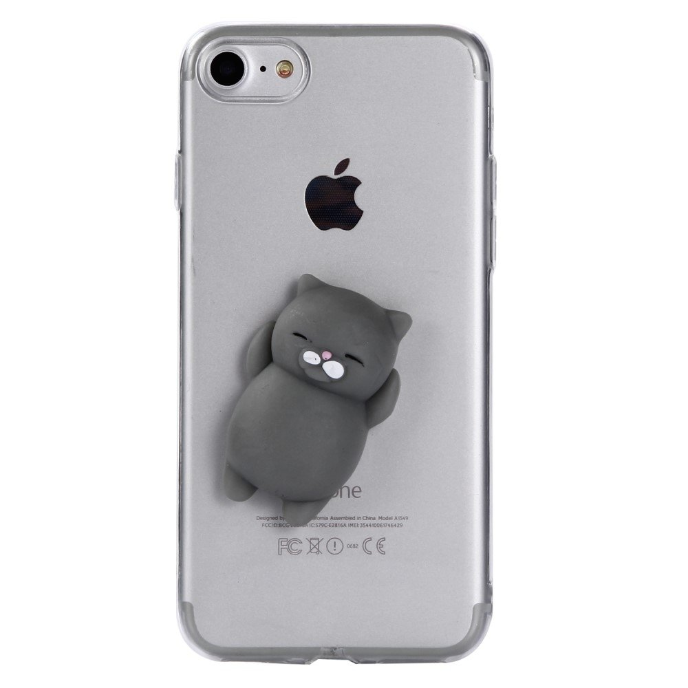 Image of   Apple iPhone 7/8 TPU Cover m. Silikone Figur - Kat