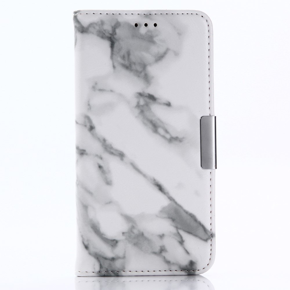 Image of   Apple iPhone X PU læder Flipcover m. Kortholder - Grå Marmor