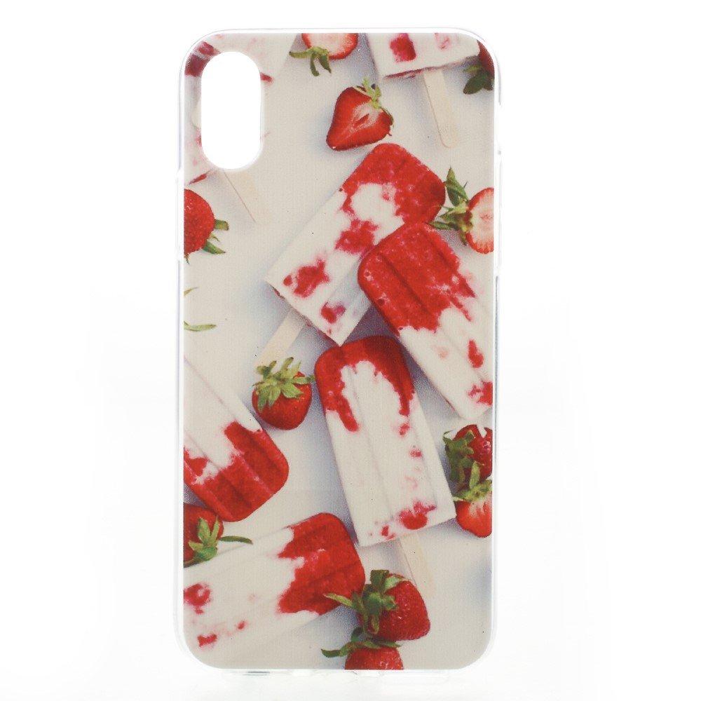 Apple iPhone X inCover TPU UV Print Cover - Is og Jordbær