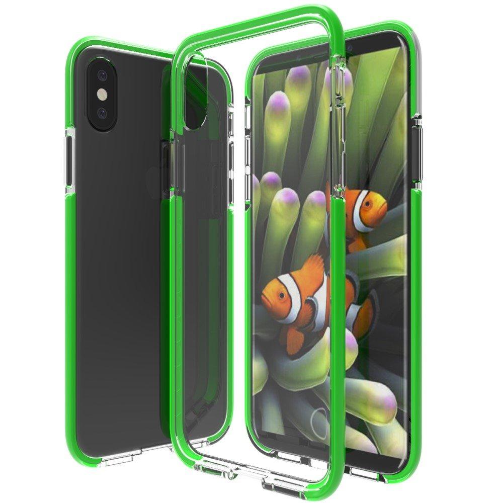 Image of   Apple iPhone X inCover Slim Hybrid Cover - Grøn/Gennemsigtig