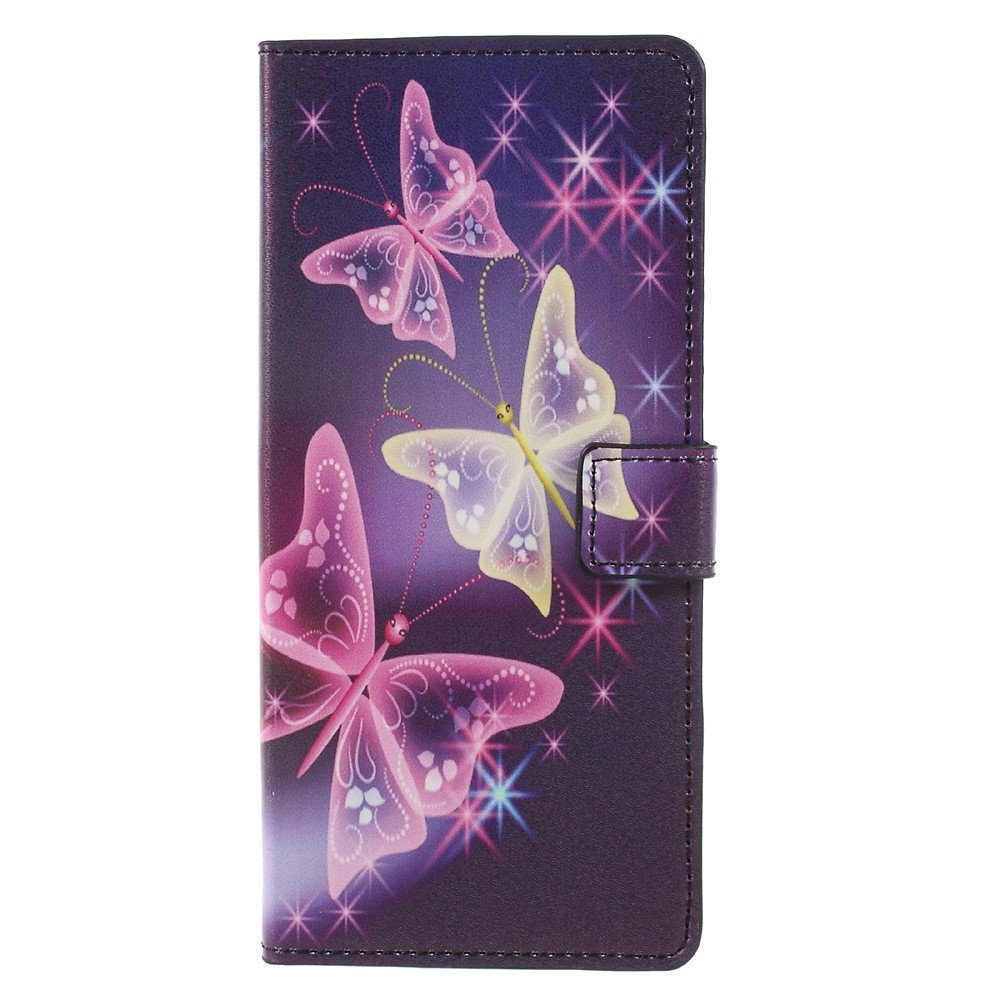 Image of   Samsung Galaxy Note 8 PU læder Flipcover m. Kortholder - Purple Butterfly