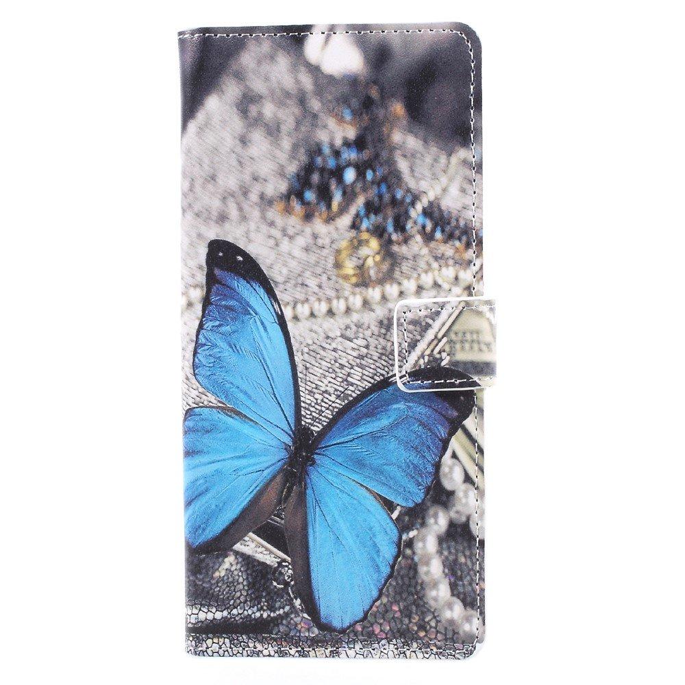 Billede af Samsung Galaxy Note 8 PU læder Flipcover m. Kortholder - Blue Butterfly